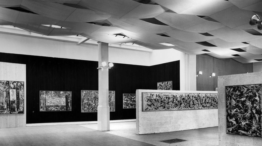 Installation view, Jackson Pollock, Whitechapel Gallery, 1958