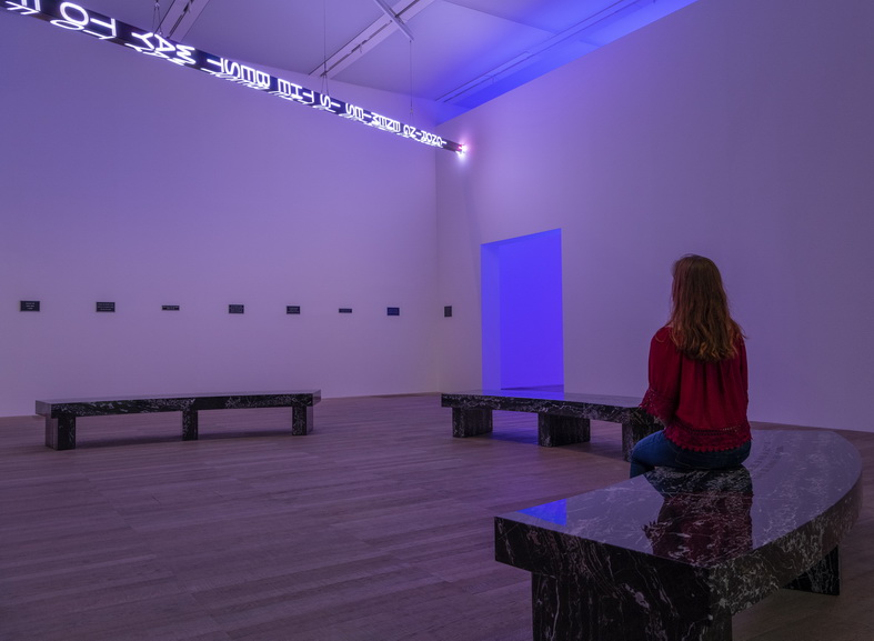 Installation view of ARTIST ROOMS Jenny Holzer at Tate Modern