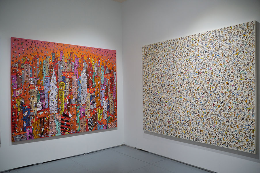 Installation view of Gallery We and art by Korean artist, Heung-Woo Shin