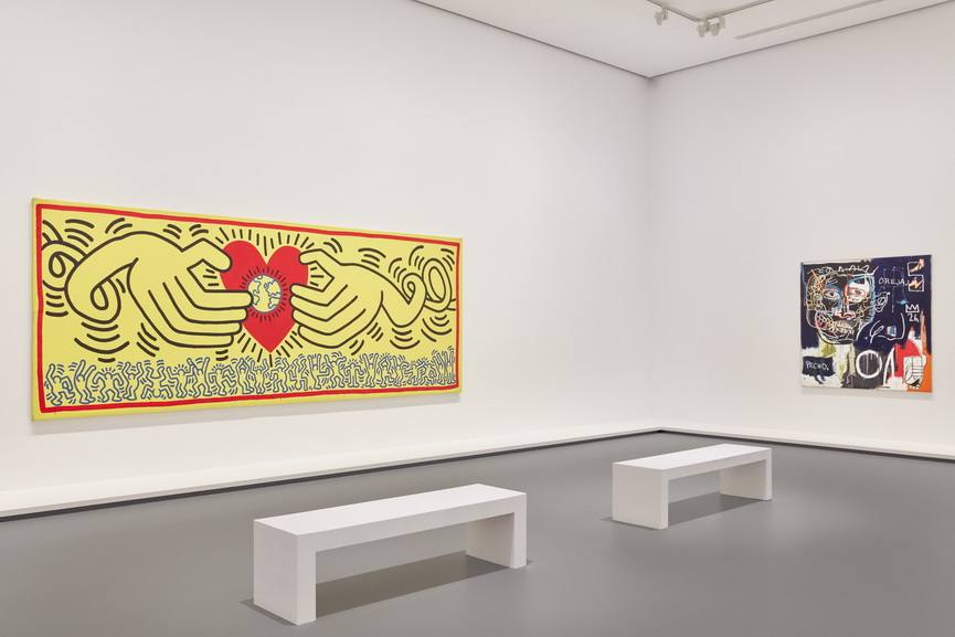 Installation view of Keith Haring Jean-Michel Basquiat Crossing Lines at NGV International