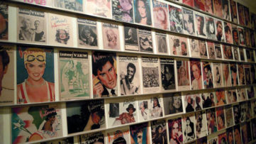 Covers of Interview magazine displayed in the Andy Warhol Museum, Pittsburgh, PA