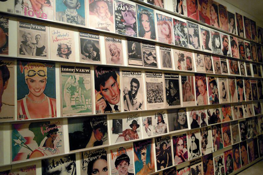 Covers ofInterview magazine displayed in theAndy Warhol Museum, Pittsburgh, PA
