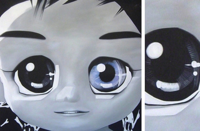 Ioam Yumako - I Am Reborn, 2008 (Left) / Detail (Right)