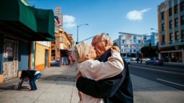 Isadora Kosofsky - Jeanie and Will kiss on the street in Los Angeles, California. From the book- Senior Love Triangle, 2019