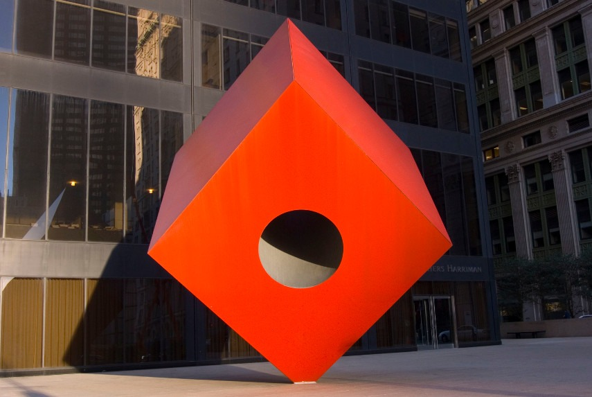 Isamu Noguchi - The Red Cube on Broadway, the Museum Home of George - Image via pinterestcom