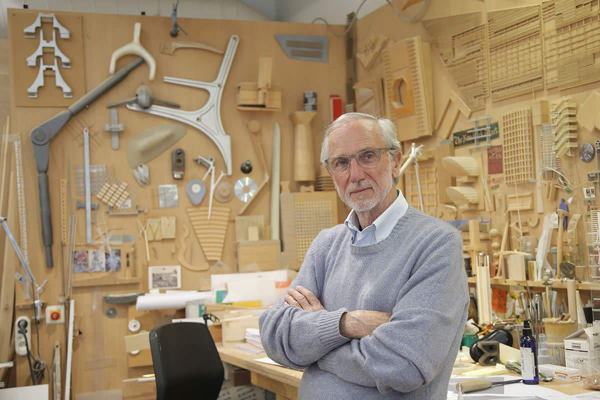 Italian architect Renzo Piano poses at his workshop in Paris