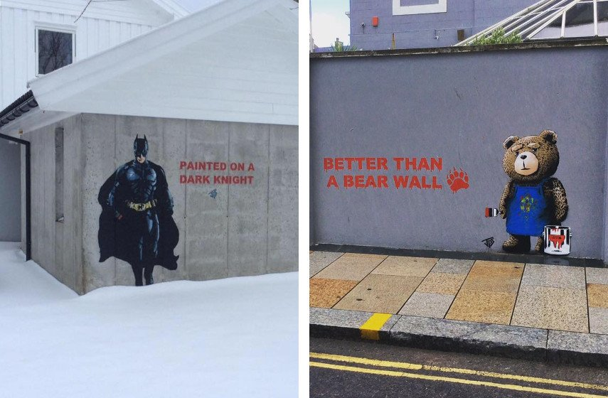 JPS - Painted on a Dark Knight, 2016 (Left), Better than a Bear Wall, 2015 (Right)