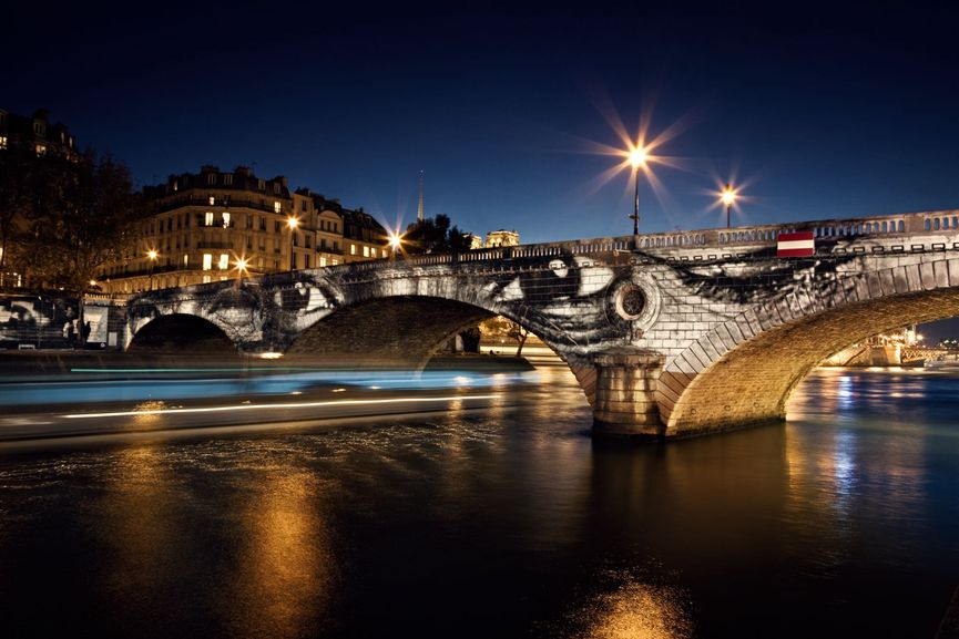 28 Millimètres, Women Are Heroes, Exhibition in Paris, Pont Louis-Philippe–Pont Marie Side by Night, with Barge, France, 2009