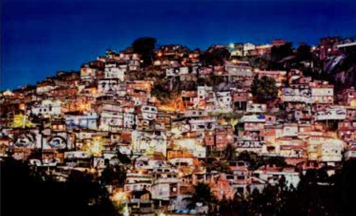 JR-28 Millimeters, Women Are Heroes - Action dans la Favela Morro de Providencia, Favela de nuit, Rio de Janeiro, Bresil-2008