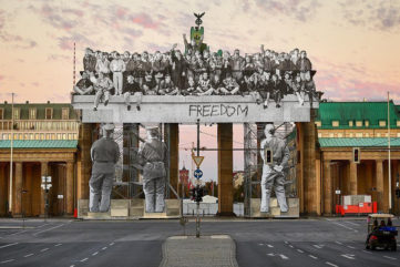 JR Commemorates the Fall of the Berlin Wall with a New Brandenburg Gate Installation!