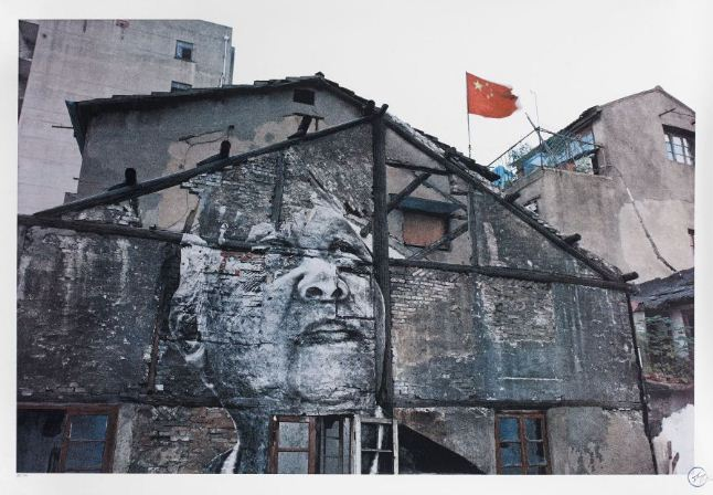 JR-The Wrinkles of the City, Action in Shanghai, Jiang Qizeng-Red Flag-2012