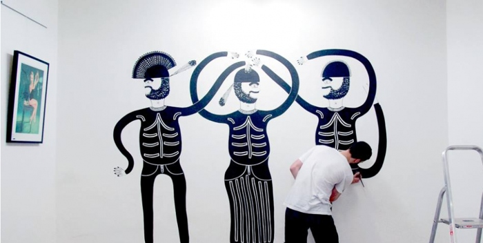 Jack Pearce creating a mural for his Bro-mural exhibition at Notting Hill Arts Club, 2014