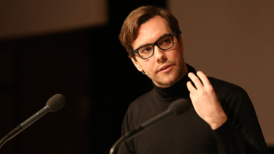 Jacob Appelbaum at a talk at 30C3 in Hamburg, 2013