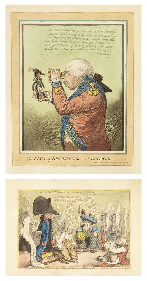 James Gillray-A Small Collection of hand-coloured etchings (Lilliputian-Substitutes, King of Brobdingnag, The Bulstrode Siren, Bat-Catching, The Eruptian of the Mountain, Blue and Bluff Charity, John Bull and The Alarmist, Delicious Dreams-Castles in the Air)-