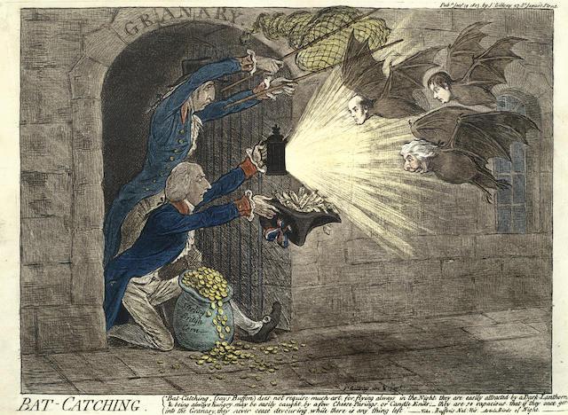 James Gillray-Bat-Catching; The Bear and his Leader 2-1806