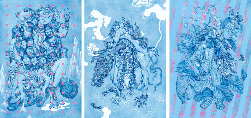 James Jean - Kali, 2015 (Left) - Sadhu, 2015 (Center) - Tobacco, 2015 (Right), 2011, pics are jpg