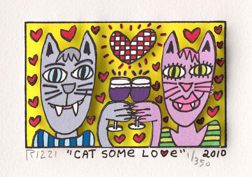 James Rizzi - Cat Some Love, 2010, james, rizzi, american, city, artwork, contact, rizzi, home, rizzi, edition, rizzi, years, prints