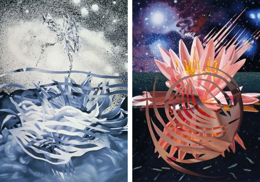 James Rosenquist - The Bird of Paradise Approaches the Hot Water Planet, 1989 (Left) Welcome to the Water Planet, 1987 (Right)