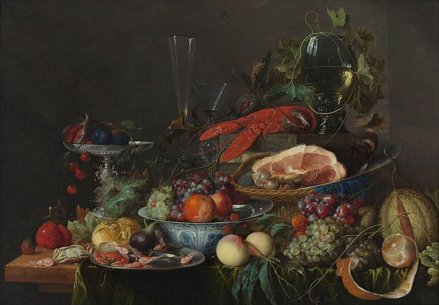 Jan Davidsz de Heem - Still life with ham, lobster and fruit, circa 1653.