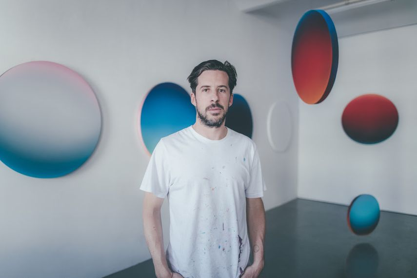 Jan Kaláb in his studio in Prague, 2019