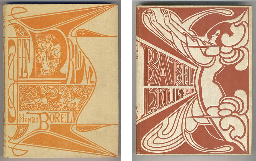 Jan Toorop - Cover for A Dream by Henri Borel, 1899 (Left) / Cover for Babel by Louis Couperus, 1901 (Right) paintings works english brussels museum life james english delft Jan Toorop paintings poster