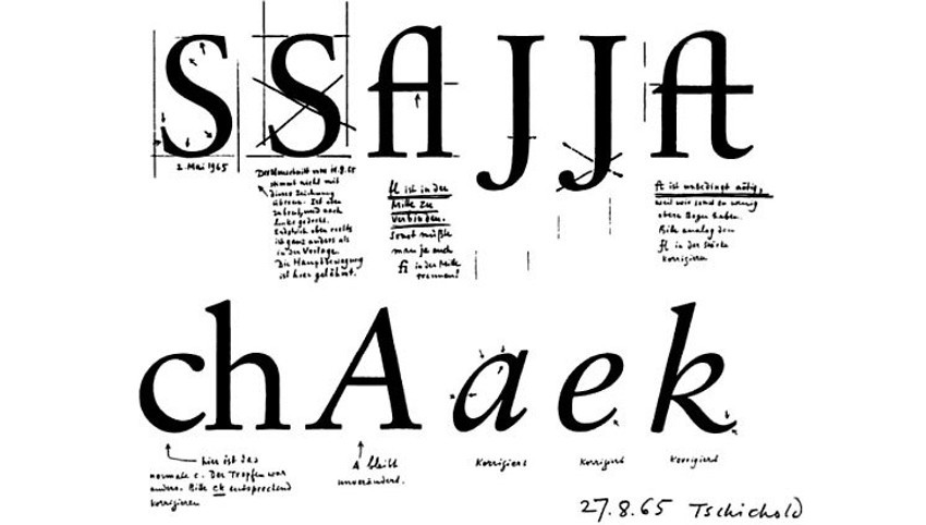 Jan Tschichold - Drawings for Sabon, 1965, photo via designhistorycom, fonts, design, designers