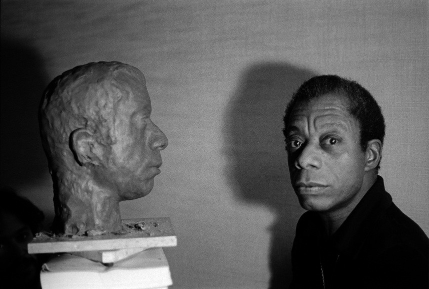 Jane Evelyn Atwood - James Baldwin with the bust of his head by American artist