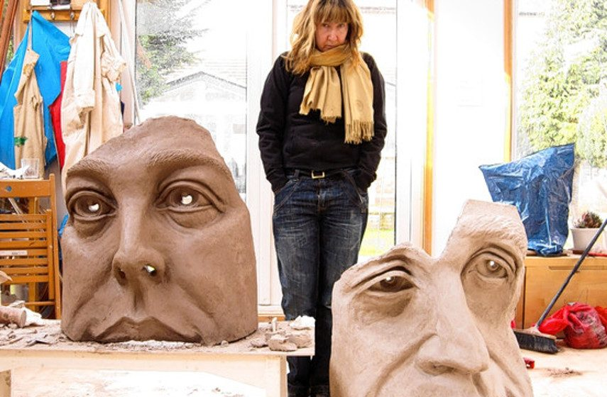 Jane McAdam Freud with her 2010 sculpture ´Stone Speak.' (detail) (www.wsj.com)