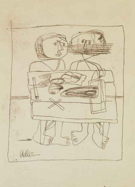 Jankel Adler-Figures Seated At A Table-1942