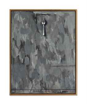 Jasper Johns-Untitled (Gray Painting with Spoon)-1962