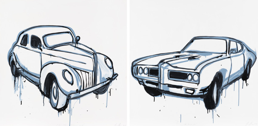 Jasper Knight - 50s Ford Minniapolis Muscle, 2013 - 69 Pontiac GTO, 2013, images via Edwina Corlette, terms of Australian exhibitions in 2010 and 2011