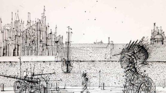 Jean Carzou - Le gardien (detail), 1982, illustration