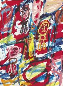 Jean Dubuffet-Site avec 3 personnages-1982