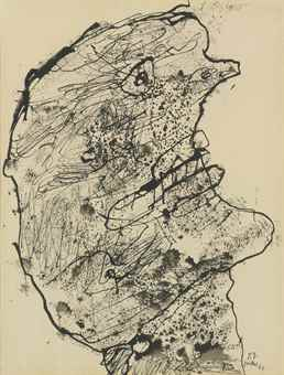 Jean Dubuffet-Tete de profil-1960