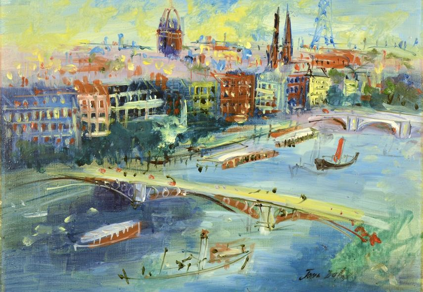 Jean Dufy - Bridges of the Seine (detail), 1954 - Photo Credits Shared Passion - Get them to sign this, for the terms of privacy