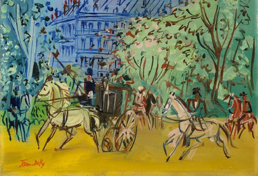 Jean Dufy - Carriages and riders (detail)- Photo Credits Lempertz -A lot of differences when compared with the 1964 Dufy