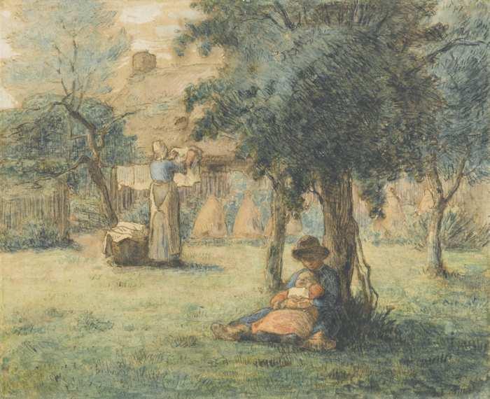 Jean-Francois Millet-Femme Etendant Son Linge-