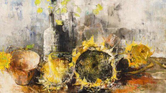 Jean Jansem - Nature Morte Aux Tournesols (detail), oil on canvas