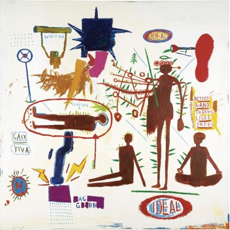 Jean-Michel Basquiat-Action Hand throws Laser Bombs-1985