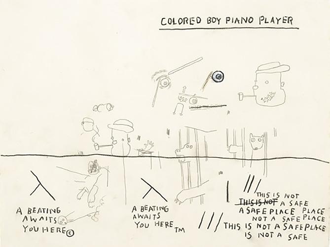 Jean-Michel Basquiat-Colored Boy Piano Player-1987