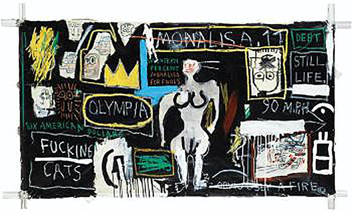 Jean-Michel Basquiat-Crown Hotel (Mona Lisa Black Background)-1982