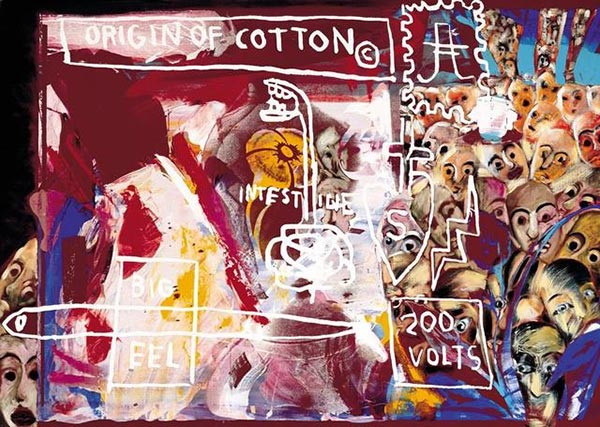 Francesco Clemente-Jean-Michel Basquiat-Andy Warhol-Jean-Michel Basquiat, Francesco Clemente and Andy Warhol - Origin of Cotton-1984