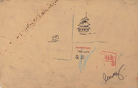 Jean-Michel Basquiat-Free Comb With Pagoda-1986