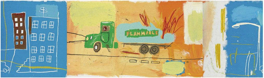Jean-Michel Basquiat-Gas Truck (Triptych)-1984