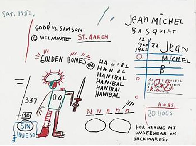 Jean-Michel Basquiat-Golden Bones-1982