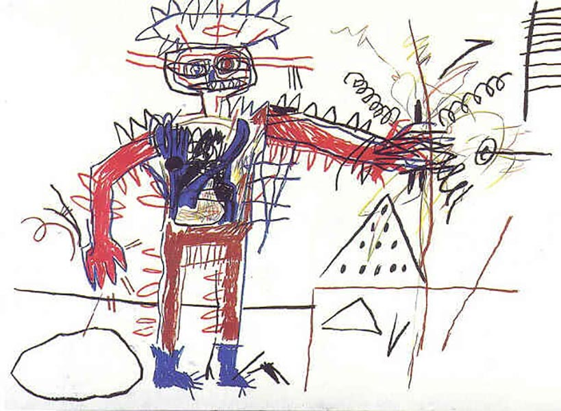 Jean-Michel Basquiat-Indian Warrior With House-1982