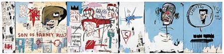 Jean-Michel Basquiat-Life Like Son of Barney Hill (6 panels)-1983