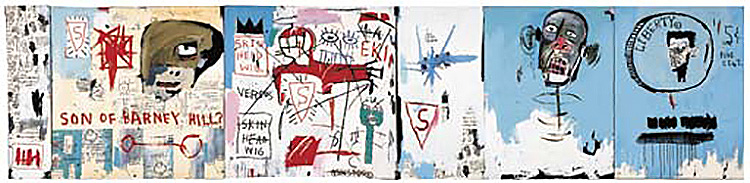 Jean-Michel Basquiat-Life Like Son of Barney Hill (6 panels)-1983