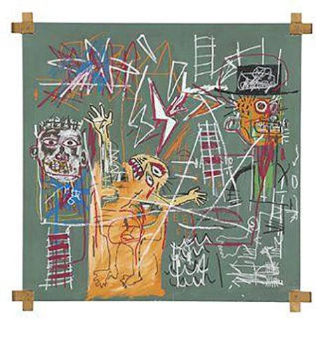 Jean-Michel Basquiat-Man Struck By Lightning - 2 Witnesses-1982