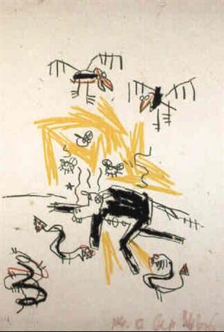 Jean-Michel Basquiat-Oiseaux, Insectes et Serpents-1982